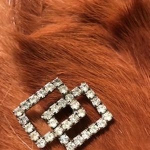 Vintage Rhinestone Connected Rectangles Brooch